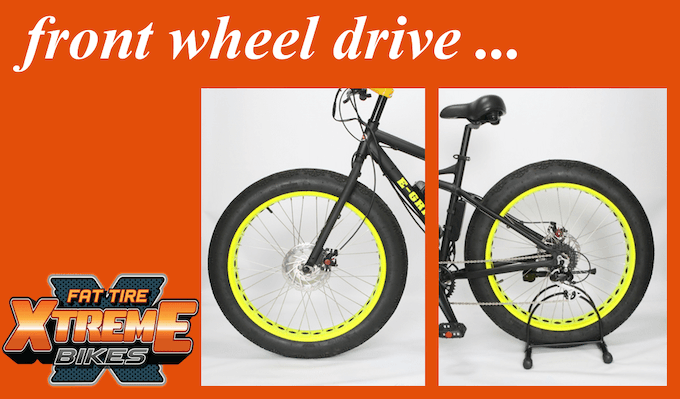 2302fade5ea Choose from the sleek E-Grizzly with matte black frame and fork and yellow  neon rims or our game stalker E-Cherokee with camouflage frame