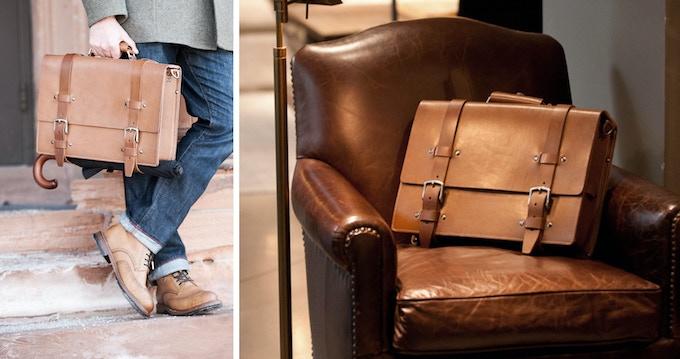 Two Strap Plain Front Briefcase.