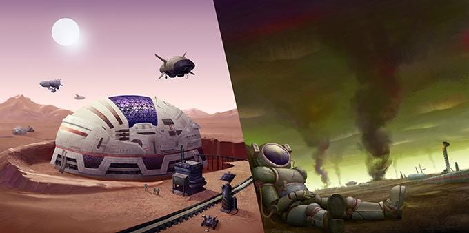 Side-by-side comparison - Mars/Venus Colony Exteriors