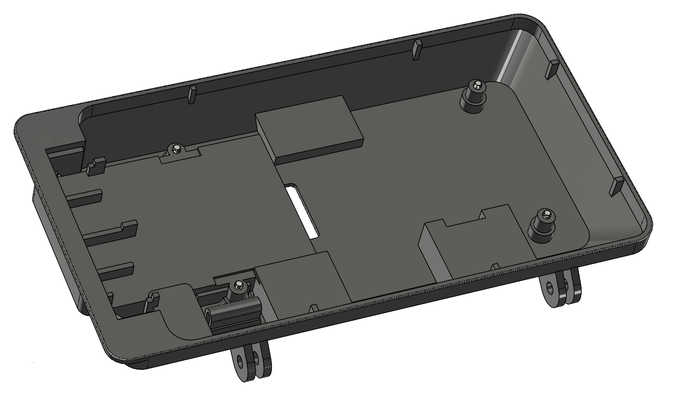 The display is secured to the case with 4 screws that correspond to four mounting points on the display.