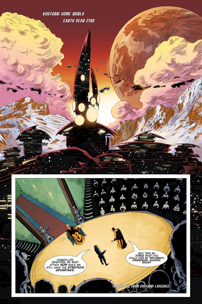 Page one Issue One, Art by Marc Olivent, Colors by Rachel Ward