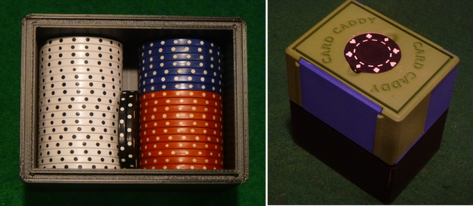 The large storage box holds 20 poker chips and snaps onto any sized Card Caddy