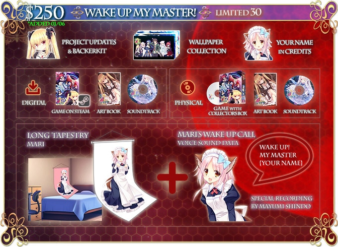 A special wake-up message from Mari with YOUR NAME will be recorded by Mayumi Shindo-san (voice of Mari). We will provide you with the sound data file. (Tapestry Dimensions: 60cm x 160cm)