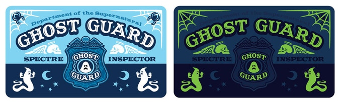 Ghost Guard I.D. card. Screenprinted with glow-in-the-dark inks!