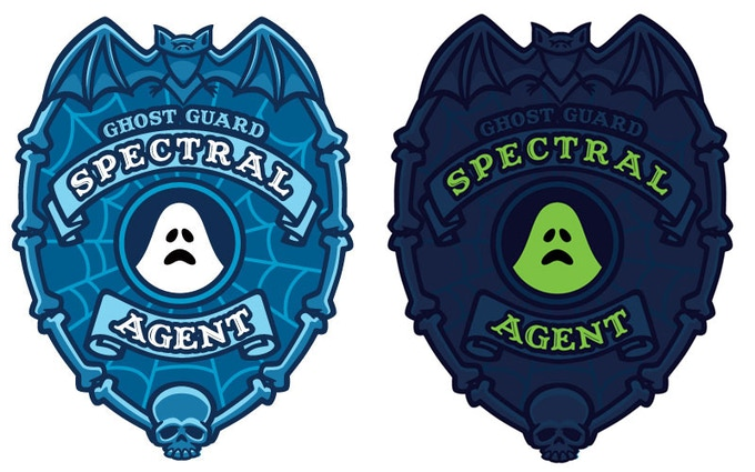 """""""Spectral Agent"""" shield design with glow-in-the-dark preview."""