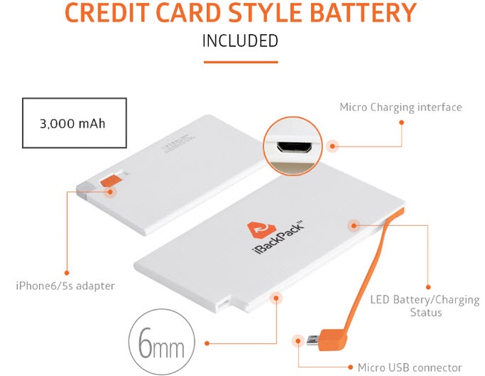 The iBackPack 2.0 credit card style battery holds 2 smartphone charges - can be recharged thousands of times and thin enough to fit into any wallet.