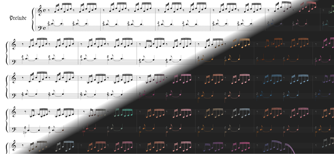 The difference between traditional printed music - black ink on white paper - and music rendered with the Colormusik engine.