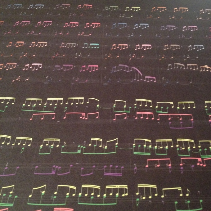"""Colormusik allows the listener to see the """"story"""" of the music - anticipating or reliving it, at will.  Photo of 19x15 digital print."""