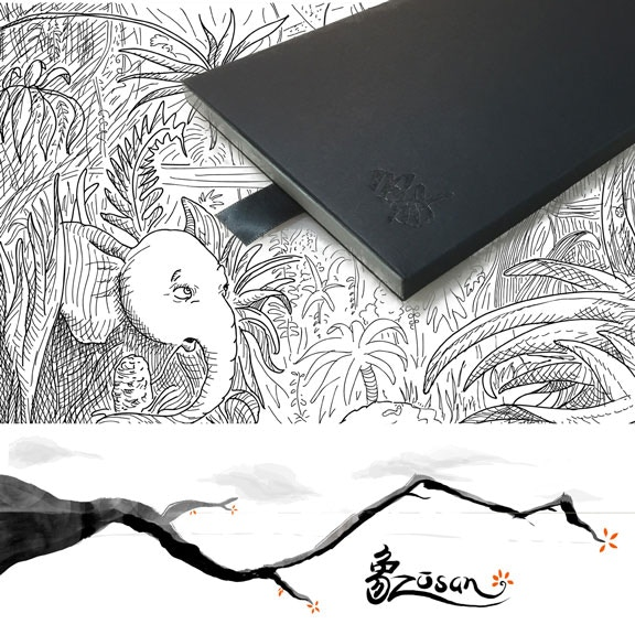 "A letterpress book/audiobook about an elephant who discovers  beauty in the world around him. Based on the Japanese song ""Zōsan"""