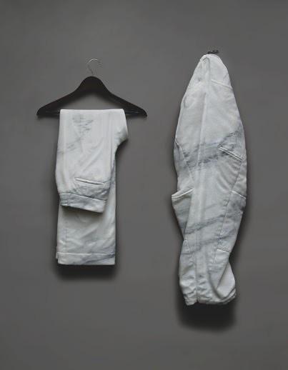 We Both Wear Pants by Sebastian Martorana, 2015, marble & found objects