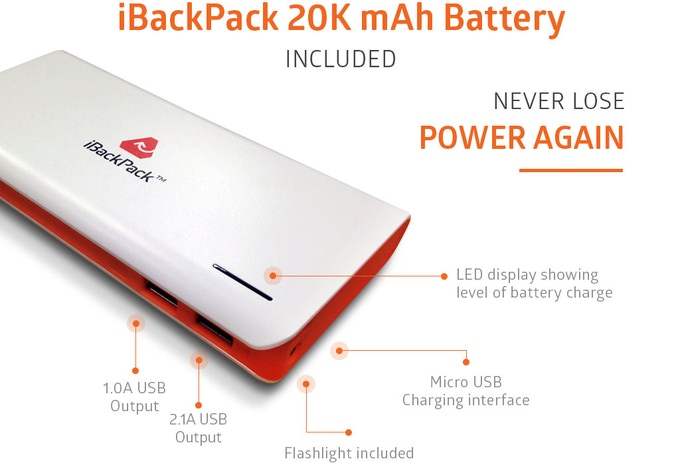 The iBackPack 2.0 20k mAh main battery bank can recharge a smartphone up to 10x from scratch. www.ibackpack.co
