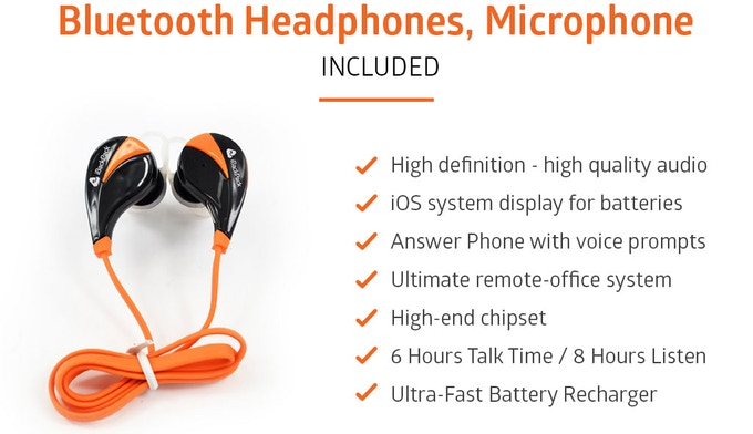 The Bluetooth earbuds/headphones provide audio controls to the iPhone/Android iBackPack app, superior audio listening similar to BEATS.