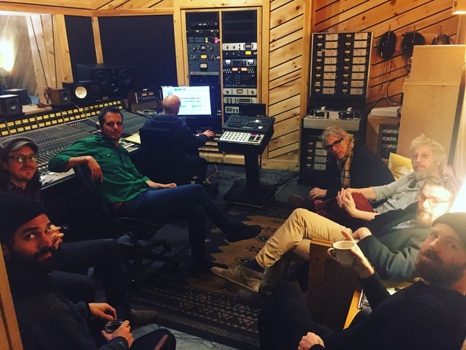 The fellas listening back to our work so far!