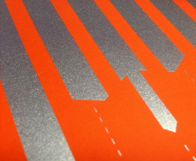 Example: Aluminium ink on orange Plike from a previous project.
