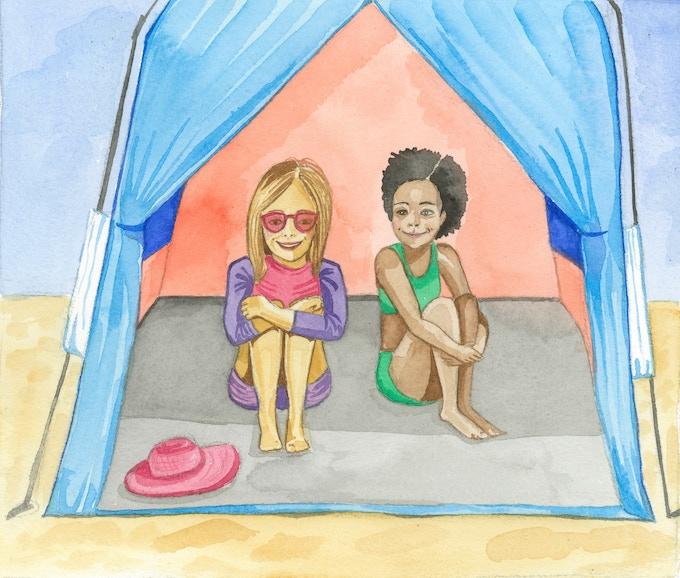 Sunny and Isla seek shade in a sun shelter.