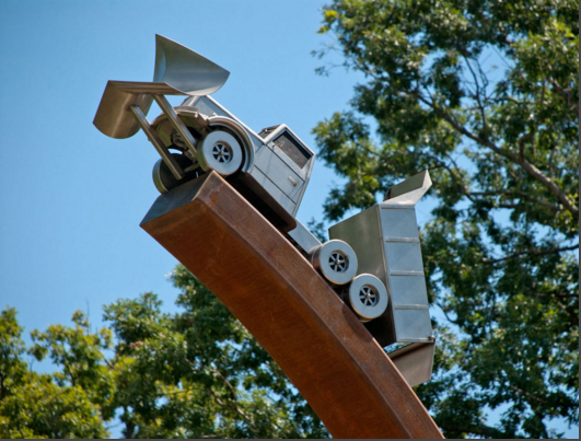 Service Road by David Hess, Stainless Steel and Steel. Dimensions 26'x10'x2'
