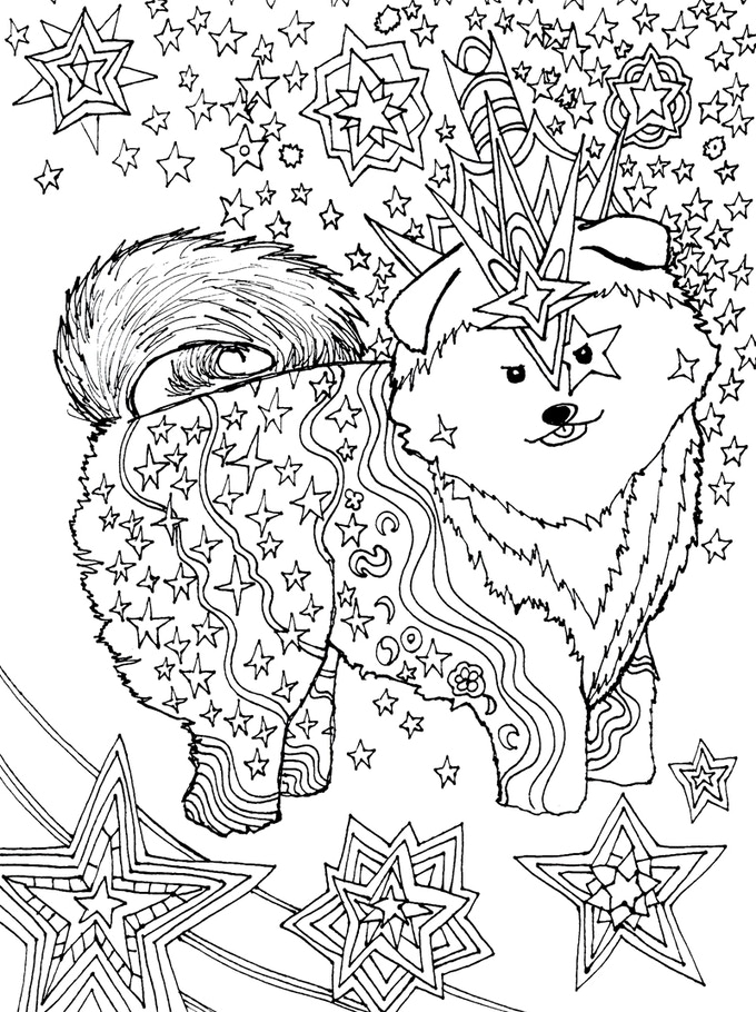 Doggy Dreamers-Relaxing Art Therapy Dog Adult Coloring