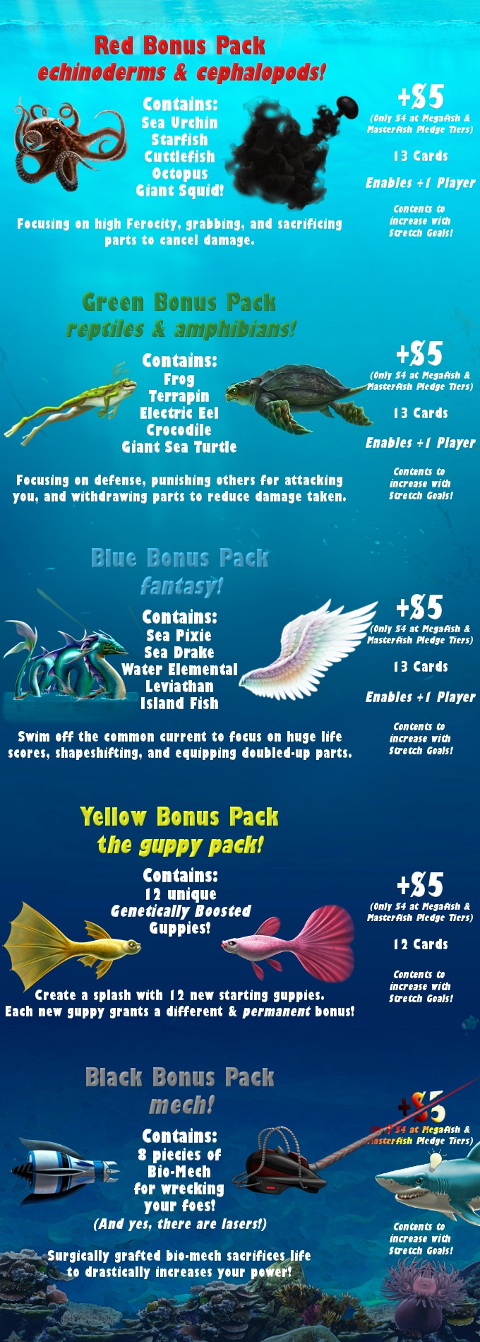 Bonus Packs - Pick and choose or save $1 each by getting them all in the Megafish & Masterfish Tiers.