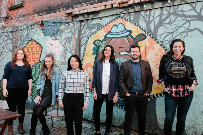 The Simplifiers team, from left to right: Bethany (filmmaker), Fanni (graphic designer), Ana (filmmaker), Chloe (community manager + marketing),  Ryan (filmmaker), Mary (educator + undercover superhero) and (not seen) Minder (marketing) + Laura (blogger)