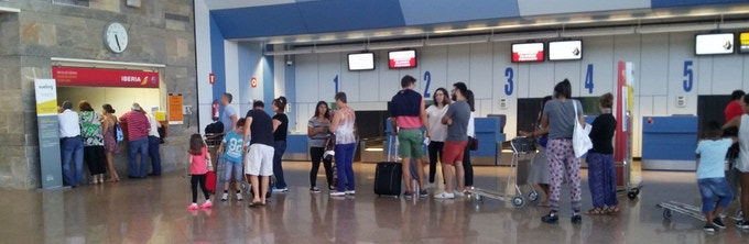 Typical scenario after losing your luggage - No, it is not a Conga line :-(