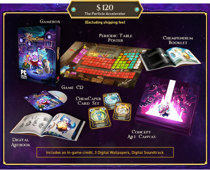"*ChemCaper card set includes 36 collectable cards. In-game credit under ""Credits"""