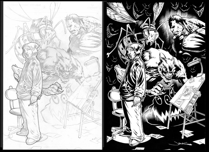 ALTERNATE cover...from pencils to inks