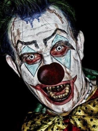 "Terrifying clown devised for ""Celebrity Juice Hallowe'en Special"" by MUA Clare Nixon"