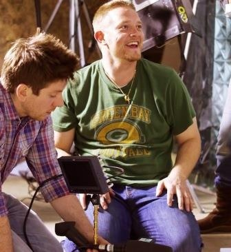 Director Richard Rowntree & DOP Chris Foulser on set, loving what they do!