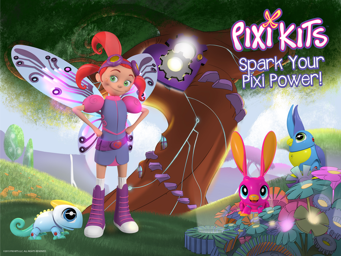 Ciela, our tech wiz Pixie with Poppy, Inky and Coco standing in front of her treetop workshop.  She loves nothing more than building little robotic friends, and she needs your child's help!