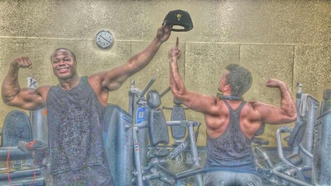 "bodybuilders flexing with the ""Thinking Cap"" via Instagram"