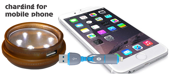 This is not an ordinary glowing lid, it is also a charger for Your Mobile Phone, connected through the USB port