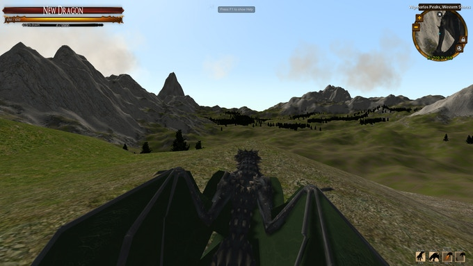A dragon surveys its lands.  Improve your senses to unlock the minimap and other tools of the hunt.
