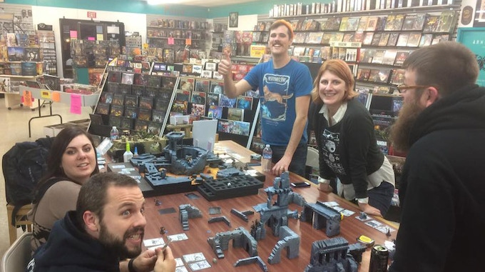 Ultra fun Relicblade demos at Great Escape Games in Sacramento. That's me with the cool orange hat!