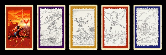 Unfinished sketches by Lucas Seven of the Tarot cards associated with each song, to be finished and released along with Path of the Phoenix