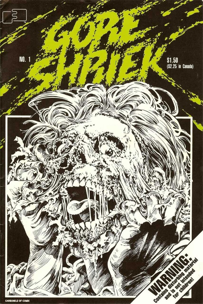 The very first issue of Gore Shriek from 1986. Cover art by the now famous special makeup effects artist, Bruce Spaulding Fuller.