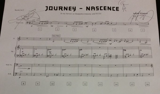 Check out this delightfully frameable signed copy of the Nascence score