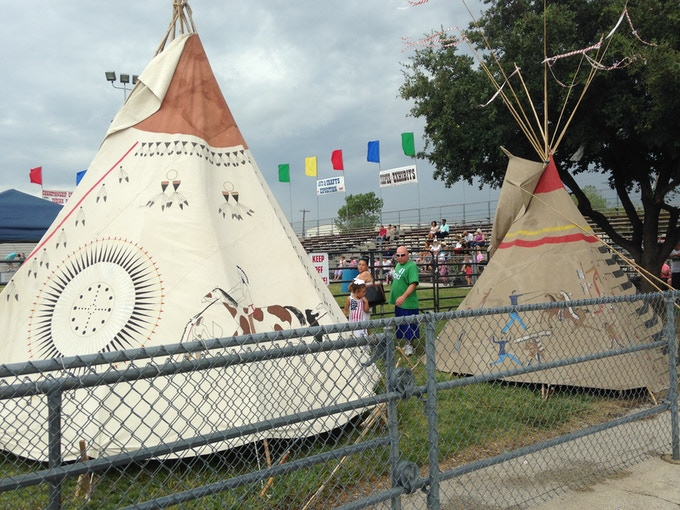 Some of the teepees on display at the 53rd Annual Indian Pow Wow in Grand Prairie, Texas.
