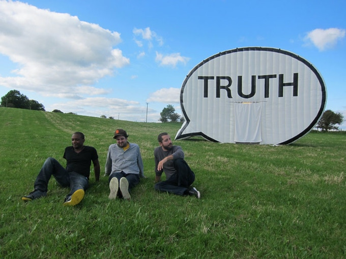 In 2011, we took the Truth Booth on its maiden voyage—across Ireland. That's Hank, Jim, and Ryan in County Galway.