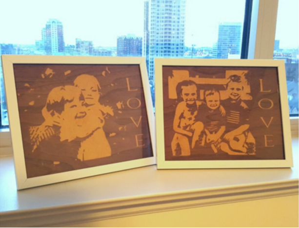 Photos carved using the new image trace in Easel