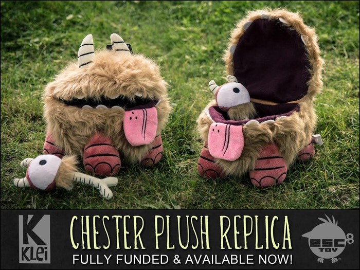 Chester is a furry & loyal friend from the game Don't Starve that was brought to life by ESC-Toy and KickStarter! The Chester Plush was fully funded and available now in the Klei Store!