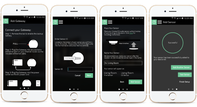 Follow the app's step by step guide to connect the hub, add and place sensors, and test the system