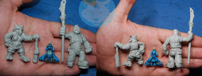 Melkree & prototypes of Pilly and Walrusman