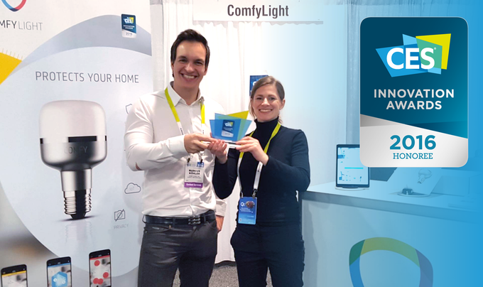 Marcus and Stefanie, co-founders of ComfyLight, at CES 2016 in Las Vegas
