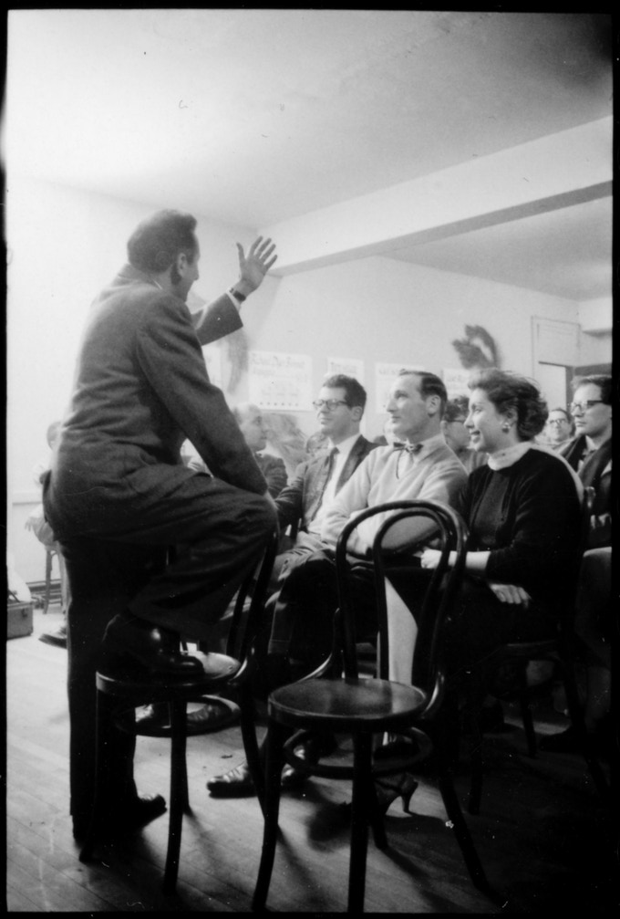 Studs Terkel at the Old Town School of Folk Music in Chicago, December 1, 1957.  Credit: Chicago History Museum, ICHi-64029; Robert  McCollough, photographer