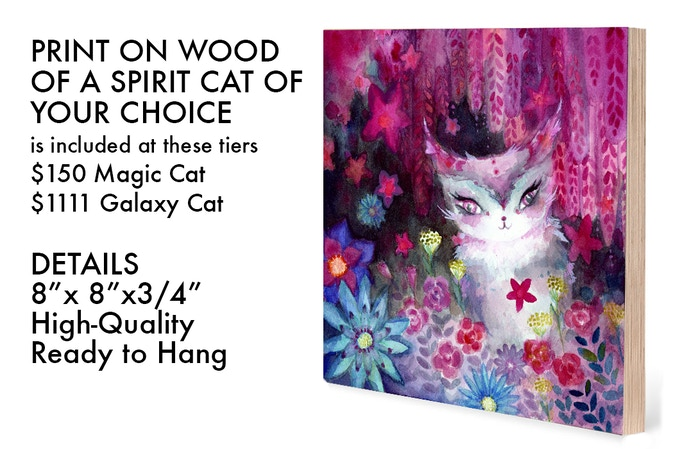 After the Kickstarter campaign ends, you will receive a survey where you can specify which Spirit Cat you want on your Print on Wood.