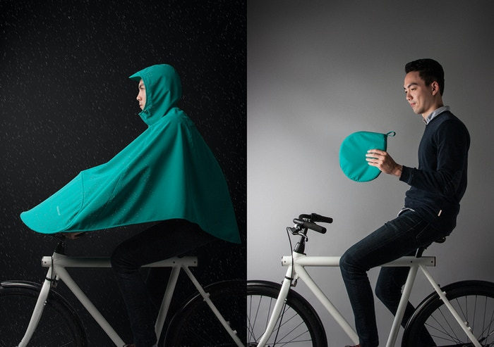 BONCHO covers riders' bodies from head to toe when riding in the rain and neatly folds up for easy and compact storage.