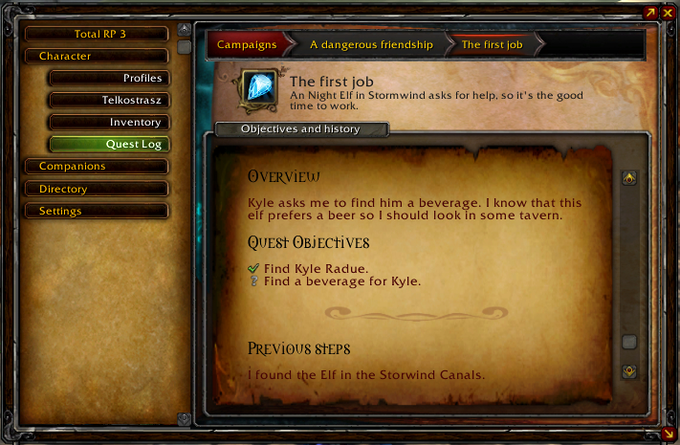 The quest log.