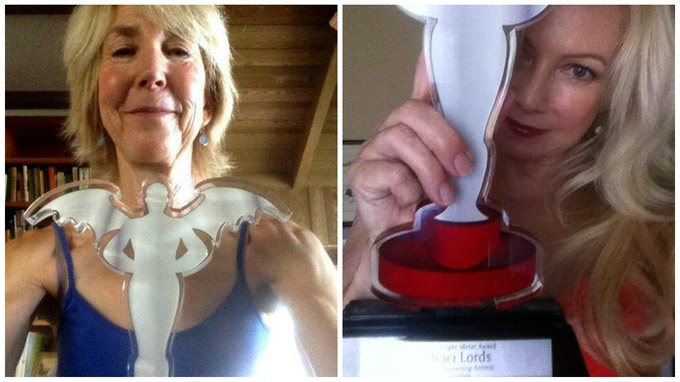 Lin Shaye and Traci Lords Proudly Display Their Fright Meter Awards