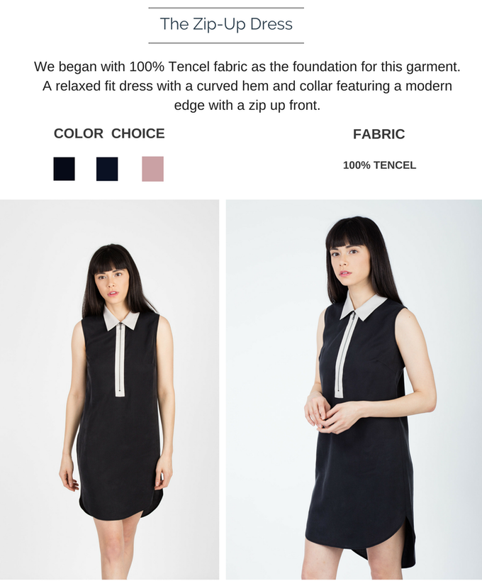 The Zip-up Dress is available in black(w grey contrast), dark navy, and pink. Shown here in Black. $148