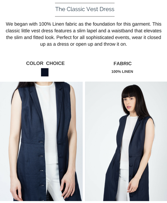 The Classic Vest Dress is available in Dark Navy. Shown here is Dark Navy. $178